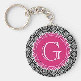 Black Floral Damask Pattern Hot Pink Monogram Keychains
