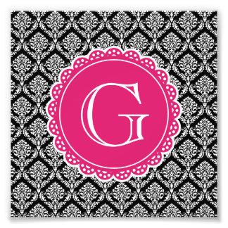 Black Floral Damask Pattern Hot Pink Monogram Photograph