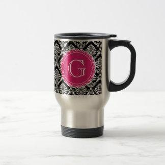 Black Floral Damask Pattern Hot Pink Monogram Stainless Steel Travel Mug