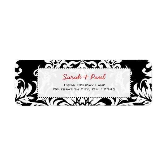 Black Floral Damask Red Font Return Address Label