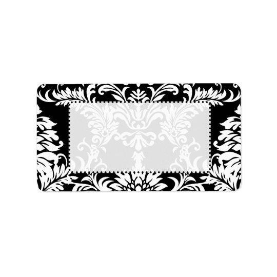 Black Floral Damask Red Font Return Address Label