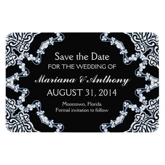 black floral damask save the date magnets