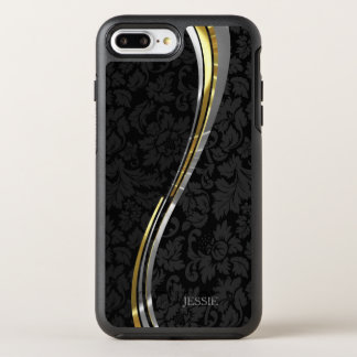 Black Floral Damask Wavy Stripes OtterBox Symmetry iPhone 8 Plus/7 Plus Case
