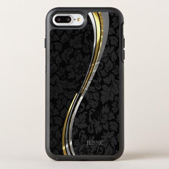 Black Floral Damask Wavy Stripes OtterBox Symmetry iPhone