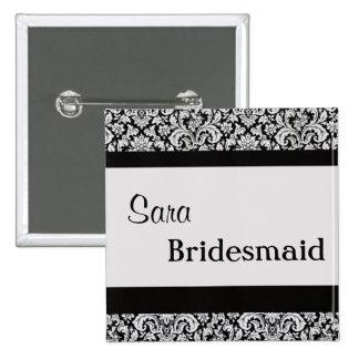 Black Floral Damask Wedding Bride women v3 15 Cm Square Badge