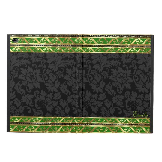 Black Floral Damasks-Green & Gold Border Frame Powis