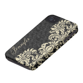 Black Floral Damasks With Light Beige Lace iPhone 4 Cases