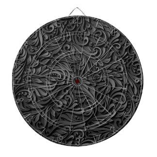 Black Floral Dartboard