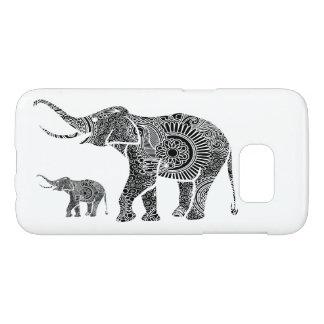 Black Floral Elephant Illustration On White