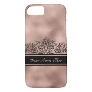 Black Floral Frame on Rose Gold Gradient Metal iPhone 8/7 Case