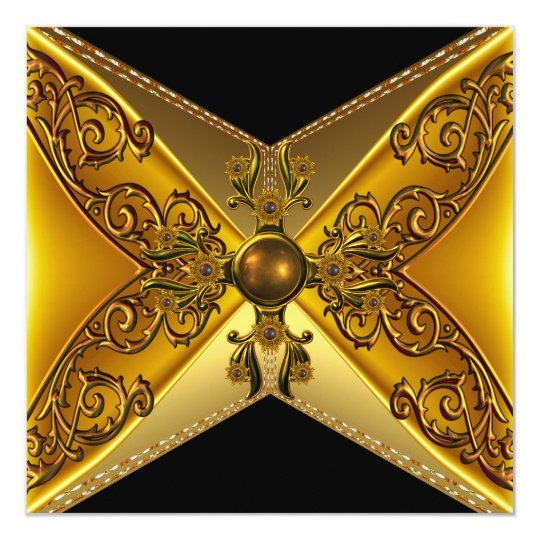 Black Floral Gold Jewel 50th Birthday Card
