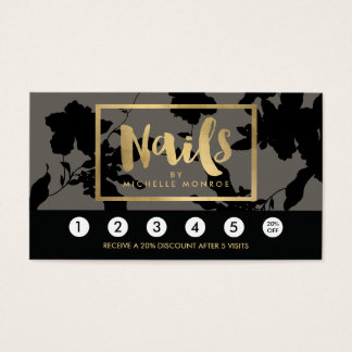 Black Floral Gold Text Nail Salon Gray Loyalty Business Card
