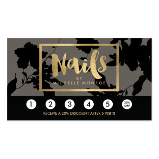 Black Floral Gold Text Nail Salon Gray Loyalty Pack Of Standard Business Cards