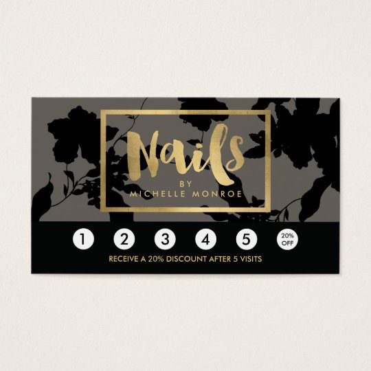 Black Floral Gold Text Nail Salon Grey Loyalty