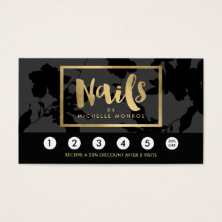 Black Floral Gold Text Nail Salon Loyalty Card