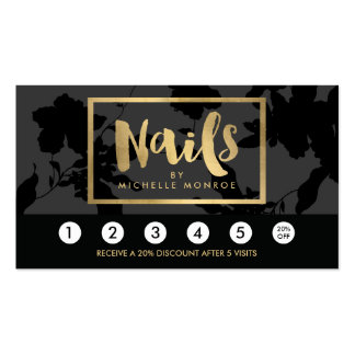 Black Floral Gold Text Nail Salon Loyalty Card Pack Of Standard Business Cards