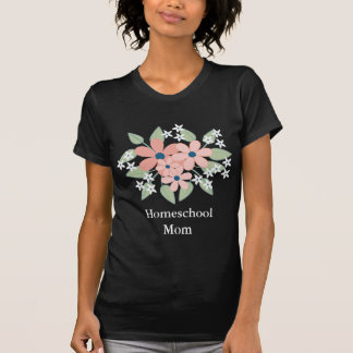 Black Floral Homeschool Mom T-Shirt