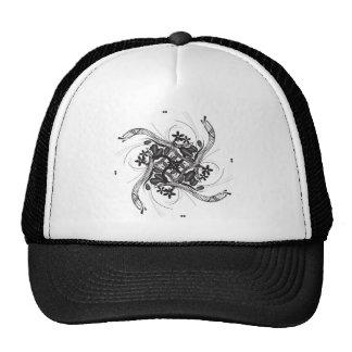 Black floral illustration hat