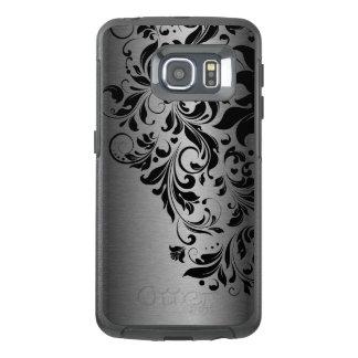 Black Floral Lace & Gray Metallic Texture G1