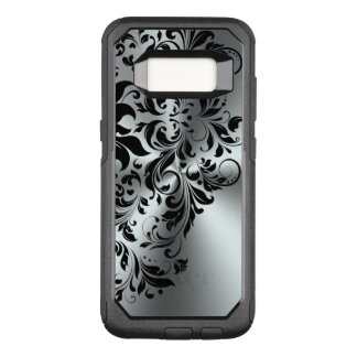 Black Floral Lace Shiny On Silver Background OtterBox Commuter Samsung Galaxy S8 Case