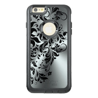 Black Floral Lace Shiny On Silver Background OtterBox iPhone 6/6s Plus Case