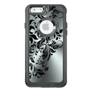 Black Floral Lace Shiny Silver Background GR4 OtterBox iPhone 6/6s Case