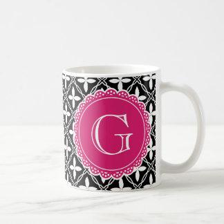 Black Floral Lattice Pattern Hot Pink Monogram Basic White Mug