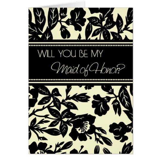 Black Floral Maid of Honour Invitation Card