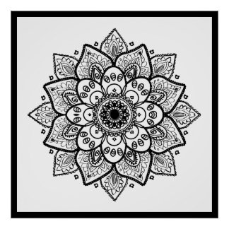 Black Floral Mandala On White Poster