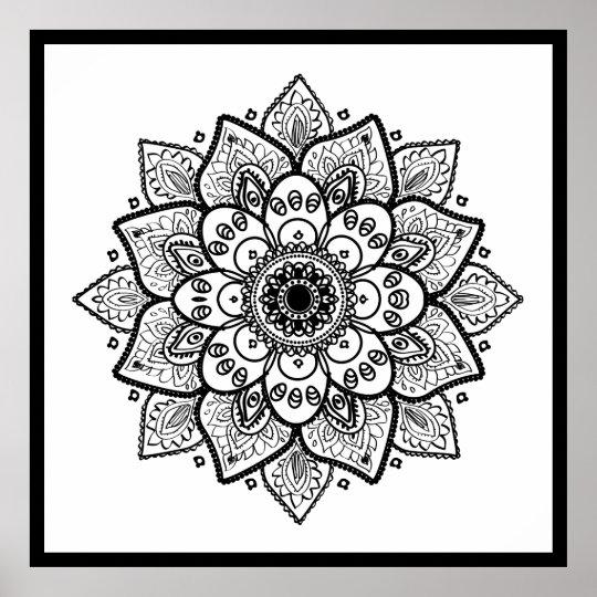 Black Floral Mandala On White Poster