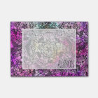 Black floral mandala pink nebula watercolor post-it notes