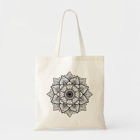 Black Floral Mandala Tote Bag