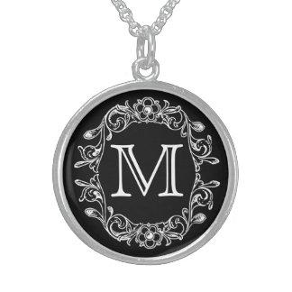 Black Floral Monogrammed Round Pendant Necklace