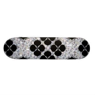Black Floral On Diamond Pattern Skate Board