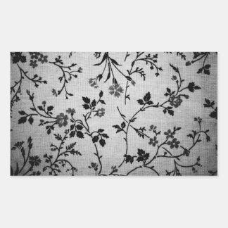 Black Floral on White Rectangular Sticker