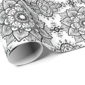 Black Floral Paisley Mandala Pattern Wrapping Paper