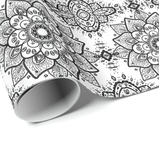 Black Floral Paisley Mandala Pattern Wrapping Paper