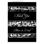 Black Floral Parents  Wedding Day Thank You Card