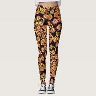 black floral pattern in boho style leggings