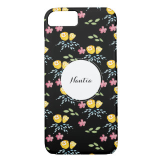 Black Floral Pattern with Custom Name Tag iPhone 8/7 Case