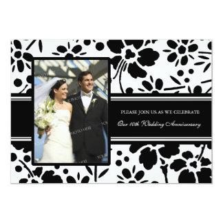 Black Floral Photo 10th Anniversary Invitation