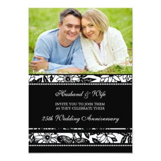 Black Floral Photo 25th Anniversary Invitation