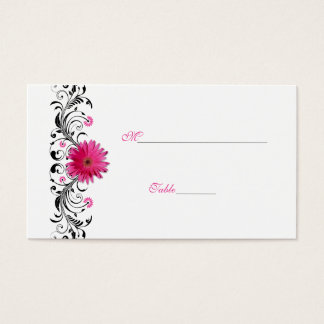 Black Floral Pink Gerbera Daisy Place Card
