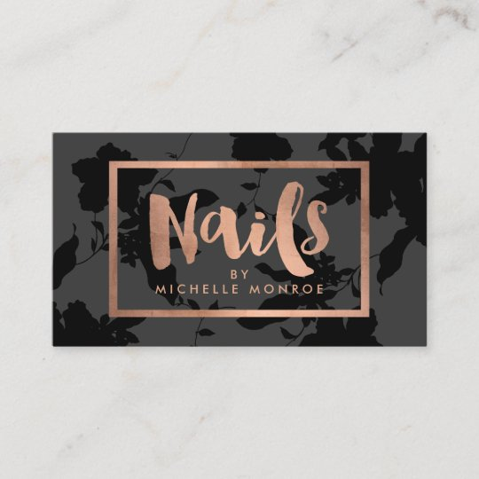 Black floral rose gold text nail salon business card zazzle black floral rose gold text nail salon business card reheart Image collections