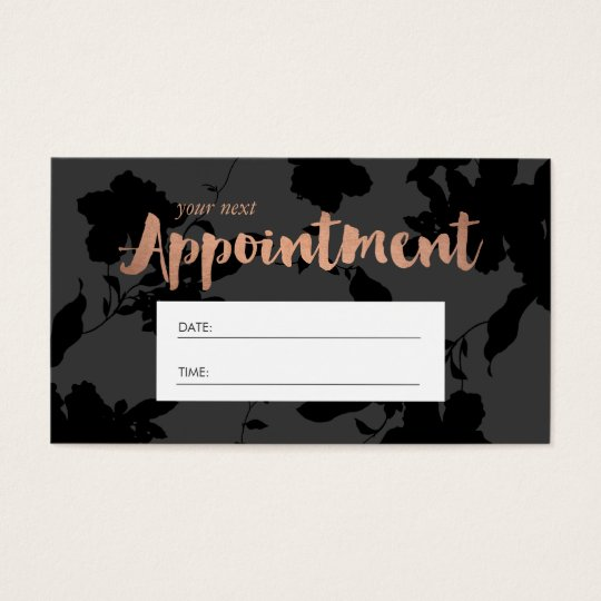 Black Floral Rose Gold Text Salon Appointment Business