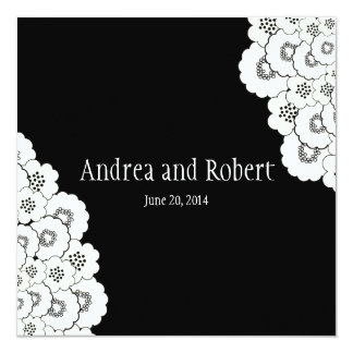 Black Floral Save the Date Announcement