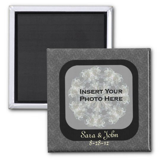 Black Floral Save The Date Wedding Magnet