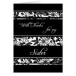 Black  Floral Sister Thank You Maid of Honour Card