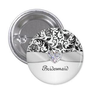 Black floral swirls damask Wedding Bridesmaid 3 Cm Round Badge