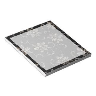 Black Floral Toss Notepad